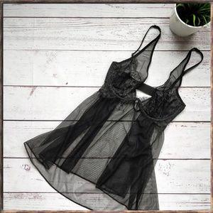 NWOT VICTORIA'S SECRET Black Lace Sheer Babydoll
